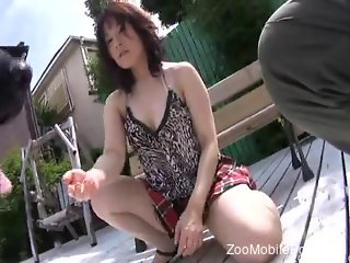 Asian wife fucked by the dog in all sort of kinky scenes