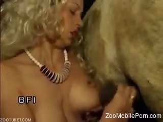 Busty classic women in scenes of raw zoophilia on cam