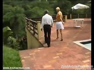 Amateur blonde fucked by the dog in front of her step dad