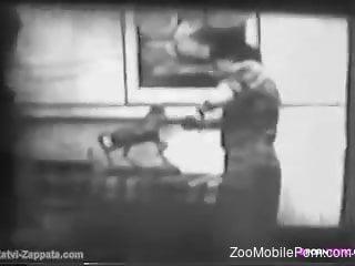 B&W retro video focusing on vintage bestiality sex