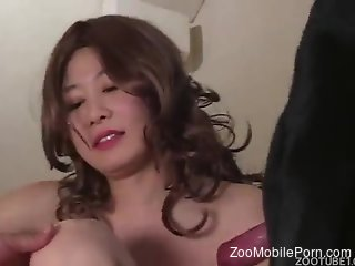 Hairy pussy Japanese lady fucks a sexy animal